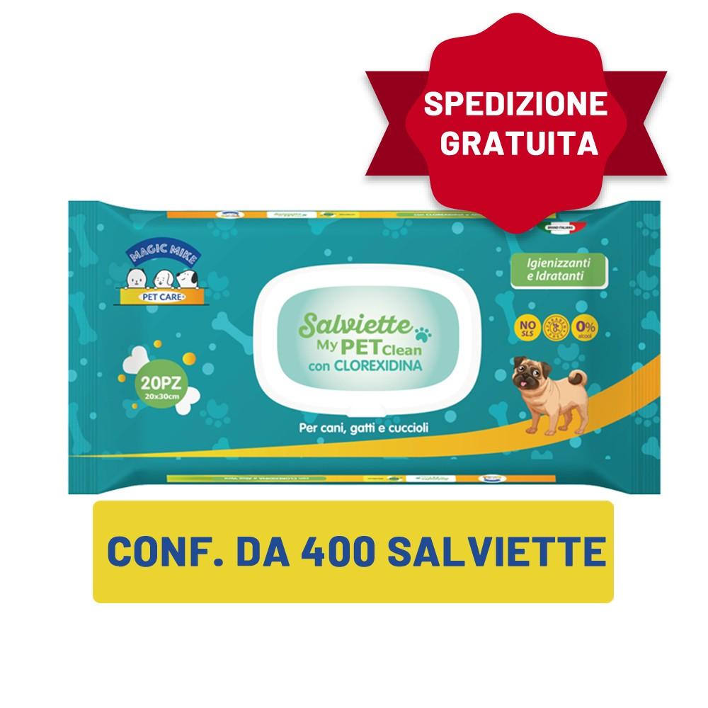 20 confezioni di salviette imbevute alla Clorexidina 20pz. + SPEDIZIONE GRATUITA